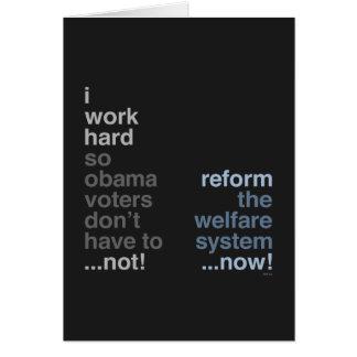 Reforme el sistema de seguridad social tarjeta de felicitación