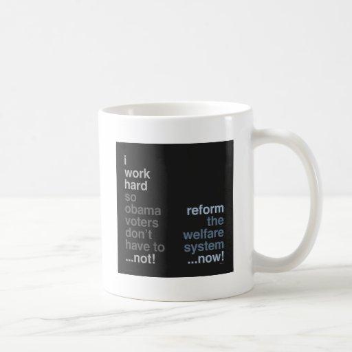 Reforme el sistema de seguridad social taza de café