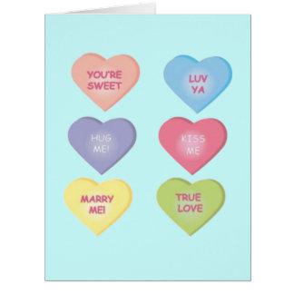Refranes de los corazones del caramelo tarjeta de felicitación grande
