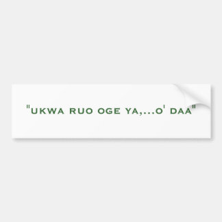 Refranes del Igbo Pegatina De Parachoque