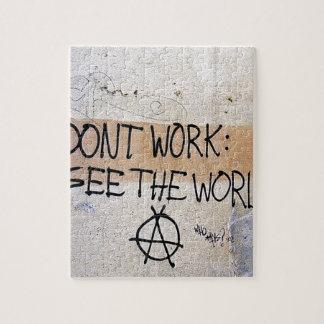 Refranes frescos: No trabaje - vea el mundo Puzzle