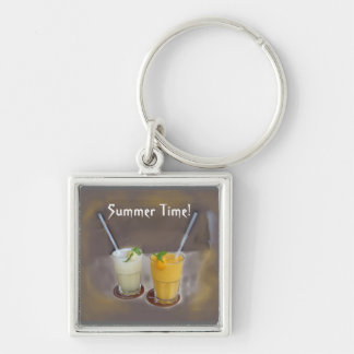 Refrescos fot a Summer Day Silver-Colored Square Keychain