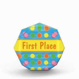 Refresh - Fruity Colorful Polka Dots on Aqua Blue Acrylic Award
