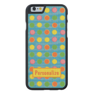 Refresh - Fruity Colorful Polka Dots on Aqua Blue Carved® Maple iPhone 6 Slim Case