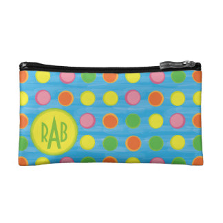 Refresh - Fruity Colorful Polka Dots on Aqua Blue Cosmetic Bag