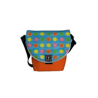 Refresh - Fruity Colorful Polka Dots on Aqua Blue Courier Bag