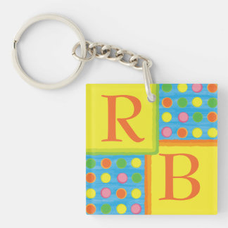 Refresh - Fruity Colorful Polka Dots on Aqua Blue Double-Sided Square Acrylic Keychain