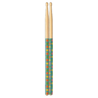 Refresh - Fruity Colorful Polka Dots on Aqua Blue Drumsticks