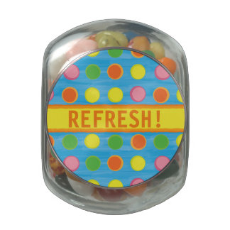 Refresh - Fruity Colorful Polka Dots on Aqua Blue Glass Jars