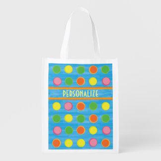 Refresh - Fruity Colorful Polka Dots on Aqua Blue Grocery Bag