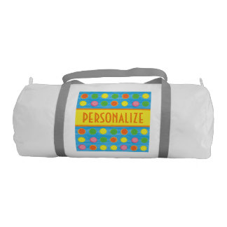 Refresh - Fruity Colorful Polka Dots on Aqua Blue Gym Bag