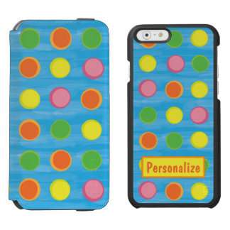 Refresh - Fruity Colorful Polka Dots on Aqua Blue iPhone 6/6s Wallet Case
