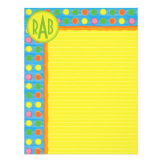 Refresh - Fruity Colorful Polka Dots on Aqua Blue Letterhead