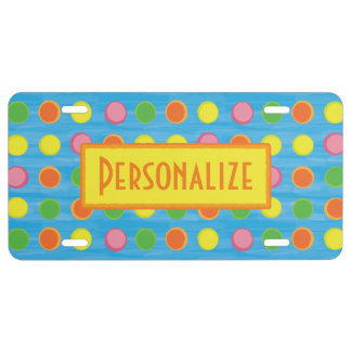 Refresh - Fruity Colorful Polka Dots on Aqua Blue License Plate