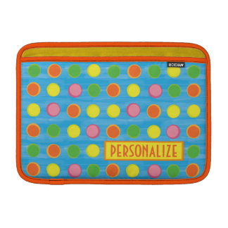 Refresh - Fruity Colorful Polka Dots on Aqua Blue MacBook Sleeve