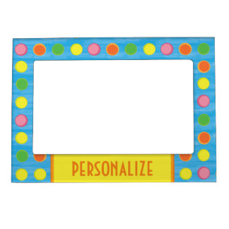refresh fruity colorful polka dots on aqua blue magnetic picture frame