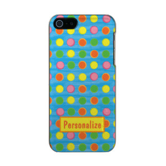 Refresh - Fruity Colorful Polka Dots on Aqua Blue Metallic Phone Case For iPhone SE/5/5s