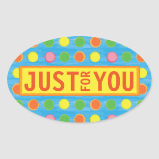 Refresh - Fruity Colorful Polka Dots on Aqua Blue Oval Sticker