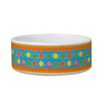 Refresh - Fruity Colorful Polka Dots on Aqua Blue Pet Bowl