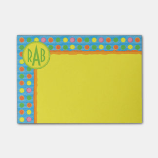 Refresh - Fruity Colorful Polka Dots on Aqua Blue Post-it Notes