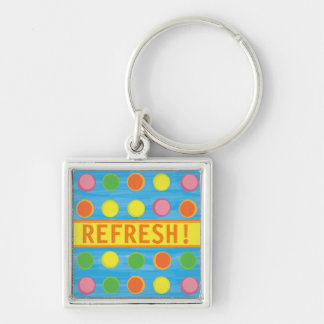 Refresh - Fruity Colorful Polka Dots on Aqua Blue Silver-Colored Square Keychain