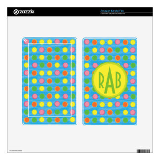 Refresh - Fruity Colorful Polka Dots on Aqua Blue Skin For Kindle Fire