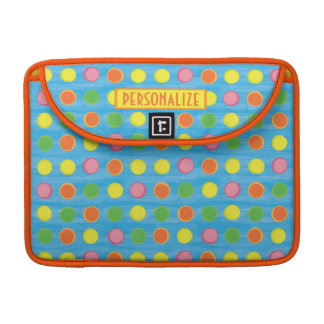 Refresh - Fruity Colorful Polka Dots on Aqua Blue Sleeve For MacBook Pro