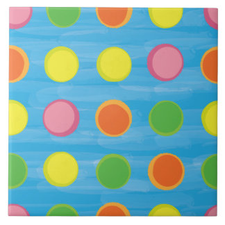 Refresh - Fruity Colorful Polka Dots on Aqua Blue Large Square Tile