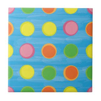 Refresh - Fruity Colorful Polka Dots on Aqua Blue Tile