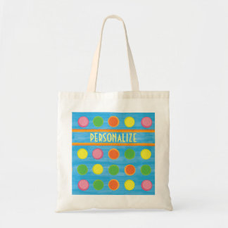 Refresh - Fruity Colorful Polka Dots on Aqua Blue Tote Bag
