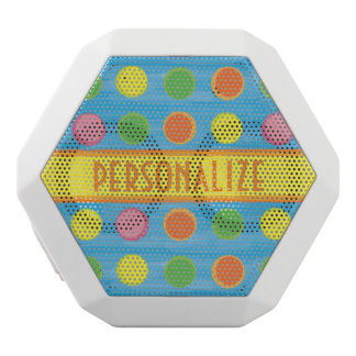 Refresh - Fruity Colorful Polka Dots on Aqua Blue White Bluetooth Speaker
