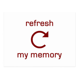Refresh my Memory (red text) Postcard