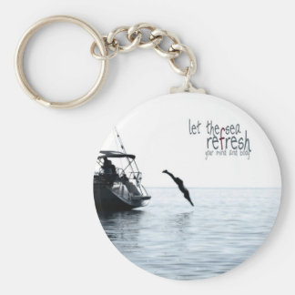 Refresh your mind and body basic round button keychain