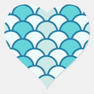 Refreshing Blue Water Wave Pattern Heart Sticker