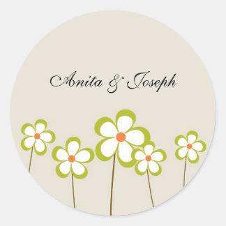 Refreshing Flower Wedding Stickers