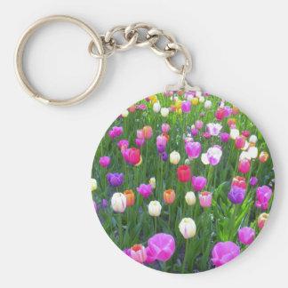 Refreshing Mixed Tulip Garden Basic Round Button Keychain
