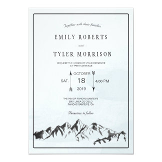 Refreshing Mountain Woodland Forest Wedding Invite