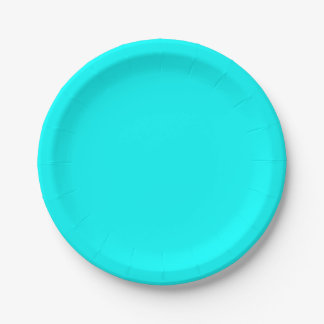 Refreshing Neon Blue Turquoise Solid Bright Color Paper Plate