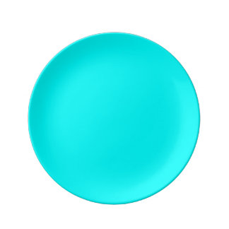 Refreshing Neon Blue Turquoise Solid Bright Color Plate