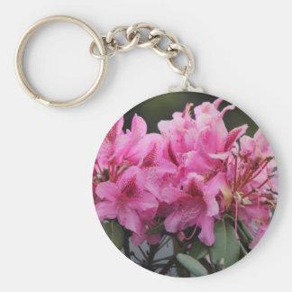 Refreshing pink flower basic round button keychain