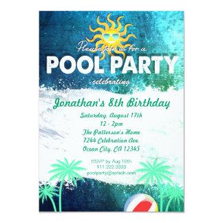 "Refreshing Pool Party Birthday Invitation 4.5"" X 6.25"" Invitation Card"
