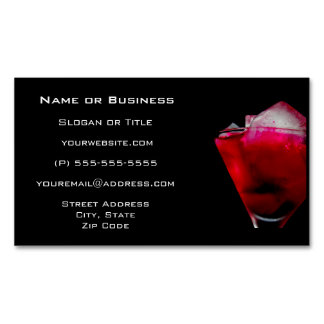 Refreshing Red and Pink Cocktail Magnetic Business Card