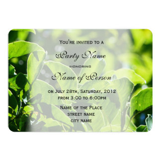 Refreshing spring, summer green leaves all party card