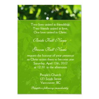 Refreshing spring, summer green leaves Christian Card