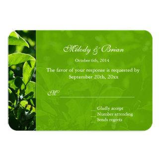 Refreshing spring, summer green leaves RSVP Card