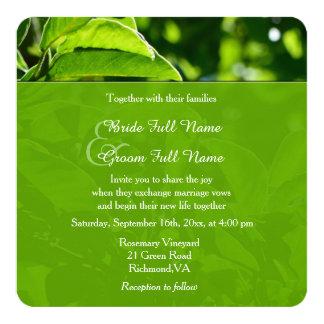 Refreshing spring, summer green leaves wedding card