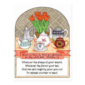Refreshing Teapot Inspirational Postcard