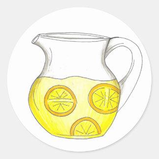Refreshing Yellow Lemonade Lemon Ade Pitcher Drink Classic Round Sticker