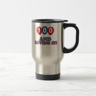 Refresque 100 diseños del cumpleaños de los años taza de viaje de acero inoxidable