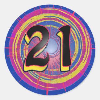 Refresque el 21ro diseño del cumpleaños pegatina redonda